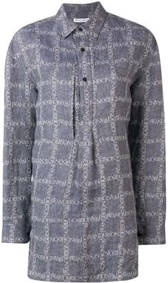 J.W.Anderson Women's Navy Logo Grid Tunic Linen Shirt