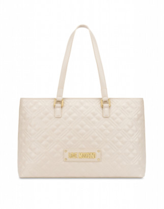 Love Moschino Quilted Shopper With Logo Woman White Size Single Size
