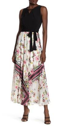 Sandra Darren Floral & Colorblock Print Maxi Dress