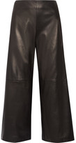 ADAM by Adam Lippes Cropped Leather Wide-leg Pants - Black