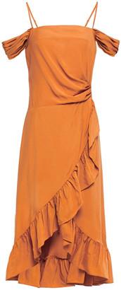 Maje Routila Wrap-effect Cold-shoulder Ruffled Broadcloth Dress