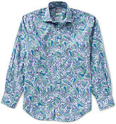 Thomas Dean Big & Tall Paisley Print Long-Sleeve Woven Shirt