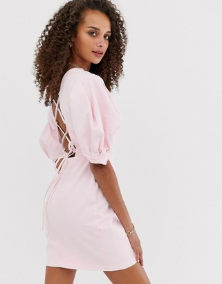 Asos Design DESIGN denim puff sleeve back detail mini dress-Pink