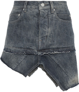 Rick Owens Asymmetric Distressed Denim Mini Skirt