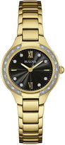 Bulova Diamonds Womens Diamond-Accent Gold-Tone Stainless Steel Bracelet Watch 98R222