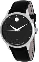 Movado 606873 Men's Museum Black Leather Watch