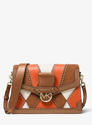 MICHAEL Michael Kors Jessie Large Suede And Leather Patchwork Shoulder Bag
