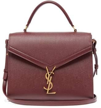 Saint Laurent Cassandra Medium Grained-leather Bag - Womens - Burgundy