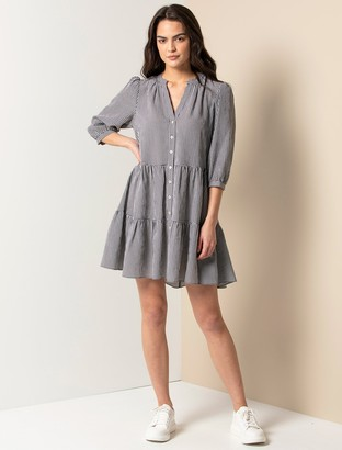 Forever New Gina Gingham Smock Dress - Black and White Gingham - 10