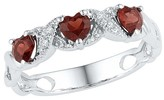 Diamond Accent White Diamond & Garnet Prong Set Three Stone Heart Ring in Sterling Silver