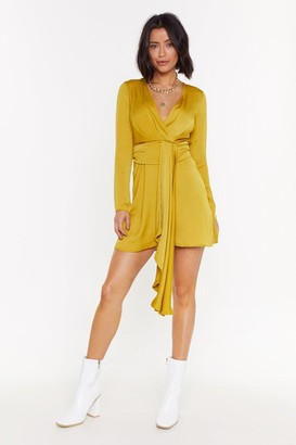 Nasty Gal Womens Anything Could Satin Drape Mini Dress - Chartreuse
