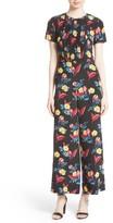 Diane von Furstenberg Women's Floral Crop Silk Jumpsuit