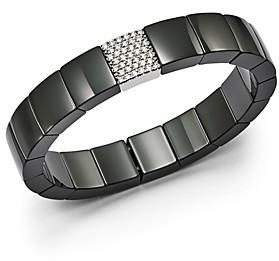 Roberto Demeglio 18K White Gold & Black Ceramic Domino Square Stretch Bracelet with Diamonds