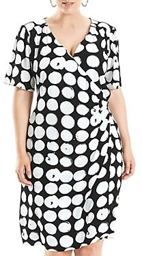 Estelle Plus Black and White Dot Dress