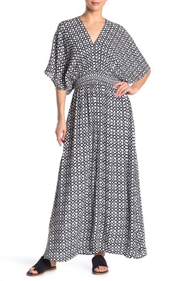 Nina Leonard Dolman Sleeve Smocked Maxi Dress