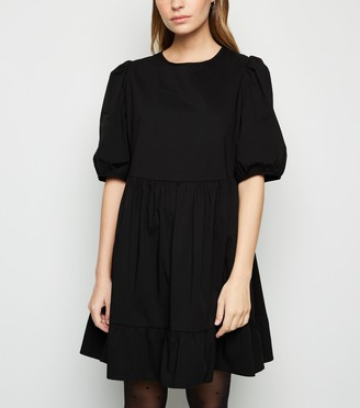 New Look Petite Poplin Puff Sleeve Smock Dress