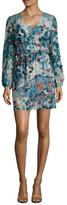 BCBGMAXAZRIA Adelynn Silk Lace Panel Mini Dress