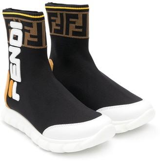 Fendi Kids Logo Colour-Block Sneaker Boots