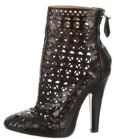Alaia Leather Laser Cut Ankle Boots