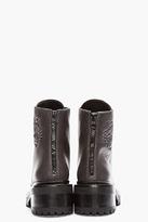 Kenzo Dark Grey Leather Tiger Mortisia Boots