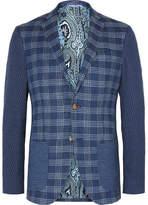 Etro Blue Patchwork Checked Jacquard Blazer
