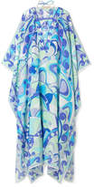 Emilio Pucci Embellished Printed Cotton And Silk-blend Kaftan - Azure