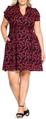 City Chic Love Vine Button Up Short Sleeve Dress