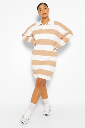 boohoo Plus Stripe Boyfriend Rugby Tee Dress
