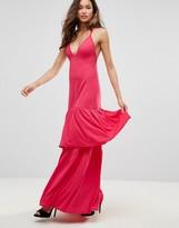 Club L London Plunge Neck Ruffle Layer Detail Maxi Dress