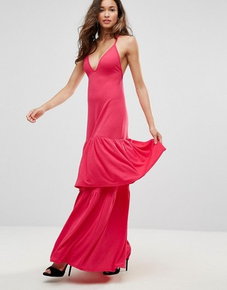 Club L London Plunge Neck Ruffle Layer Detail Maxi Dress-Red