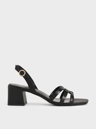 Charles & Keith Snake Print Block Heel Sandals