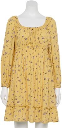 Juniors' Rewind Long Sleeve Emma Flounce Dress