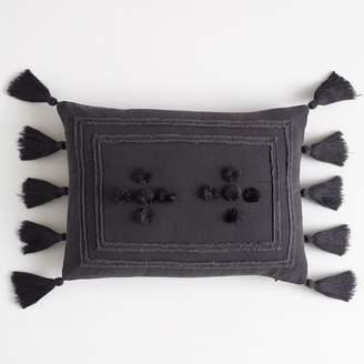 Pottery Barn Teen Tara Tassel Pillow Cover, 12&quotx16&quot, Vintage Ebony