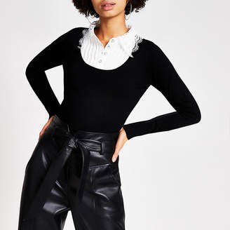 River Island Black broderie collar knitted jumper