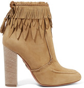 Aquazzura Tiger Lily Leather-trimmed Fringed Suede Ankle Boots - Beige
