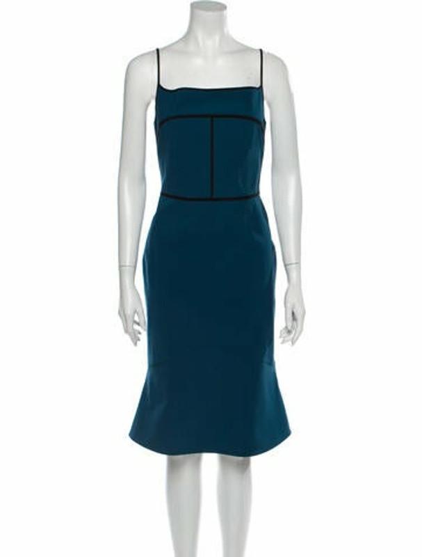 Narciso Rodriguez Square Neckline Knee-Length Dress Blue