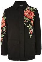 Topshop Black Rose Embroided Shacket