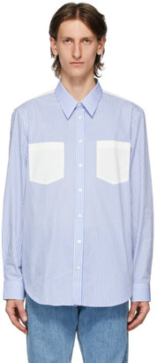 Helmut Lang Blue and White Striped Logo Shirt