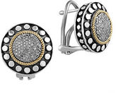 Effy 925 Sterling Silver, 18K Yellow Gold and Diamond Earrings