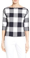 Nordstrom Women's Bateau Neck Gingham Sweater