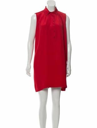 Saint Laurent Silk Sleeveless Dress Red