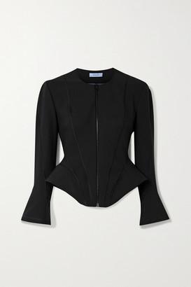 Thierry Mugler Paneled Scuba Peplum Jacket - Black