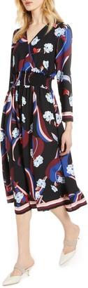 Halogen Smock Waist Long Sleeve Dress (Regular & Petite)