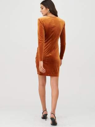 Very Velvet Glitter Jersey Mini Dress - Mustard