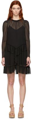 See by Chloe Black Georgette Ruffle Dress