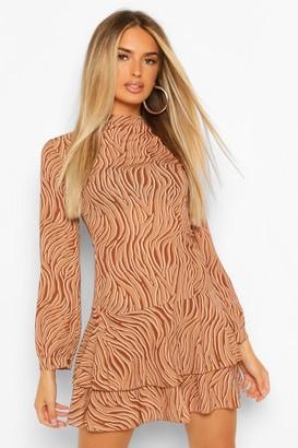 boohoo Zebra Funnel Neck Skater Dress