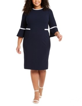 Calvin Klein Plus Size Piped Bell-Sleeve Sheath Dress