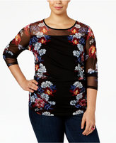 INC International Concepts Plus Size Floral-Print Illusion Top, Only at Macy's