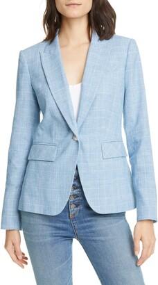 Veronica Beard Glen Plaid Cotton Blend Dickey Jacket