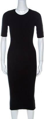 Alexander Wang Black Ribbed Knit Short Sleeve Dress M
